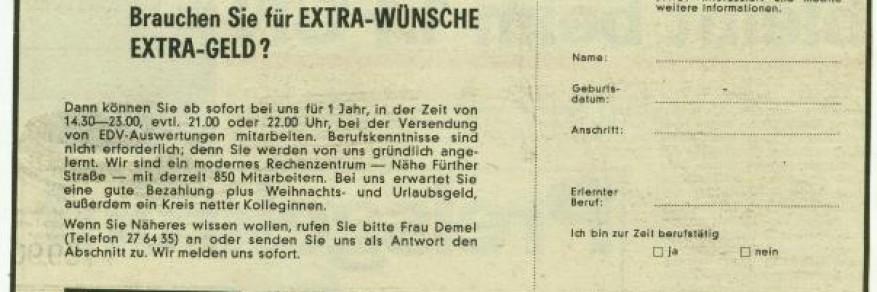 Zeitungsanzeige von 1978